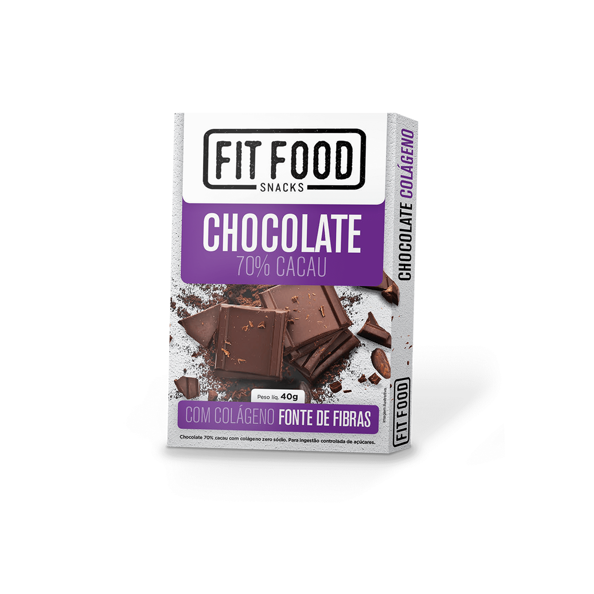 Chocolate 70% Colageno 0 lactose Fit Food 40g