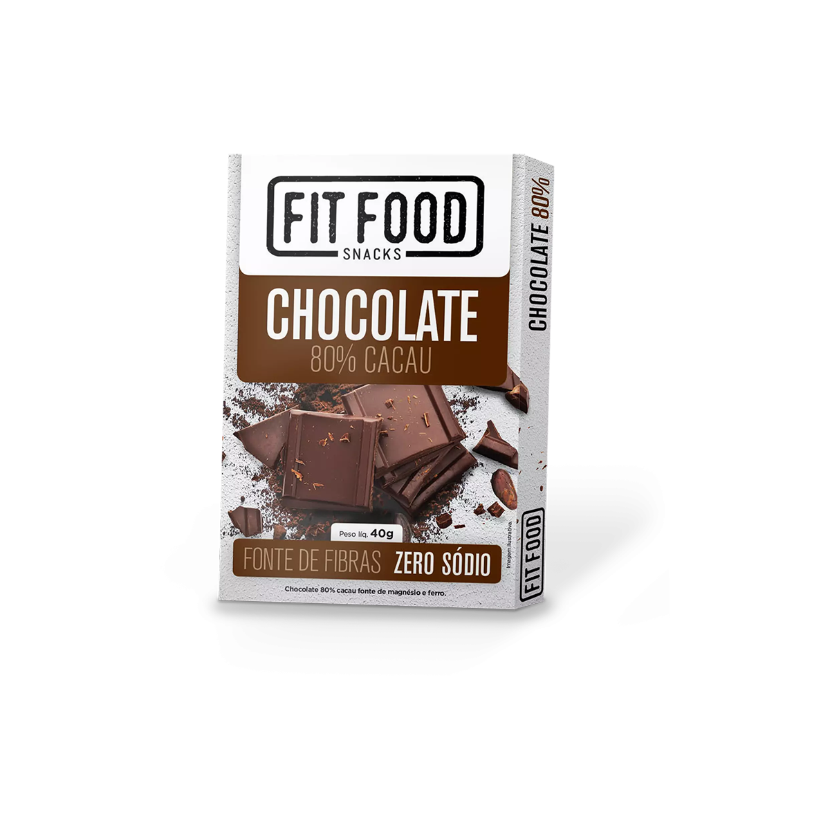 Chocolate 80% Cacau 0 Lactose Fit Food 40g