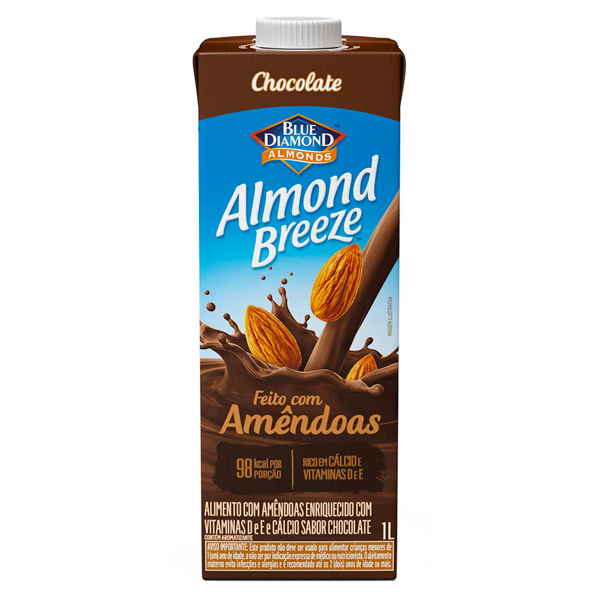 Bebida à Base de Amêndoa Chocolate Blue Diamond Almond Breeze Caixa 1l